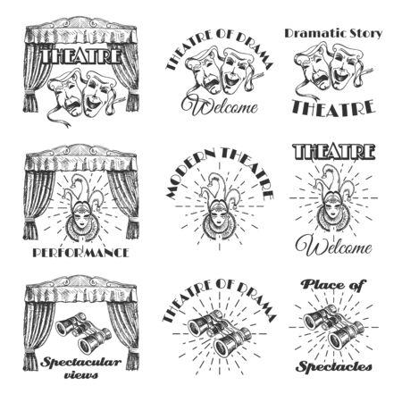 Vintage theatre label, emblem, badge and logo set, vector illustration