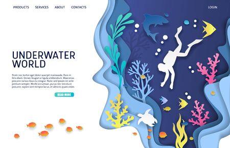 Modèle de conception de page de destination de site Web de vecteur du monde sous-marin