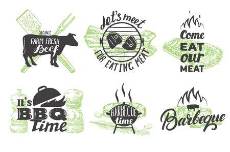 Vector set of vintage grill emblems, logos and labels Ilustração