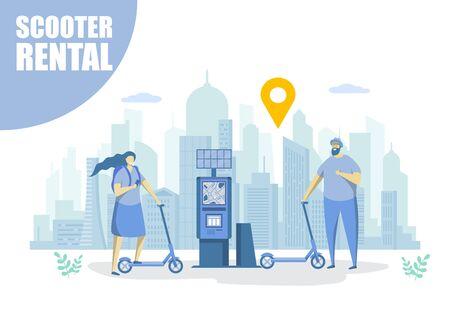 Scooter rental, vector flat style design illustration