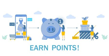 Earn points for purchase, vector concept illustration