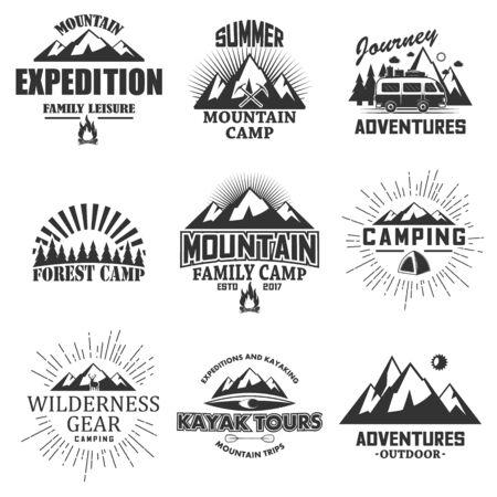 Vector set of vintage outdoor label, emblem, badge and logo set