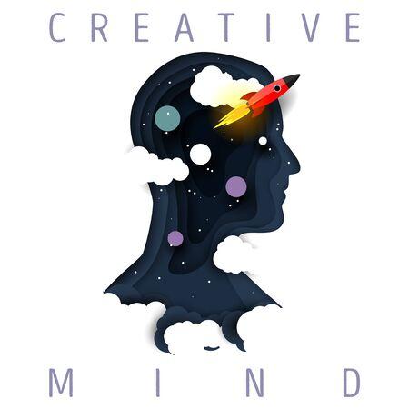 Creative mind concept vector paper cut illustration Ilustração