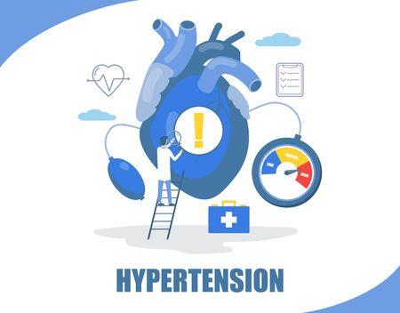 Hypertension concept vector flat style design illustration