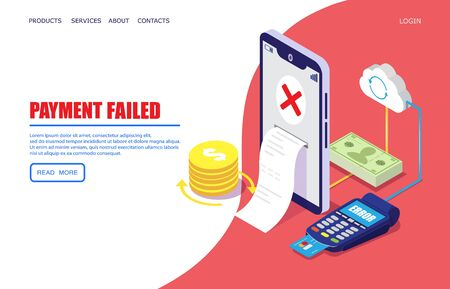 Payment failed vector website landing page design template