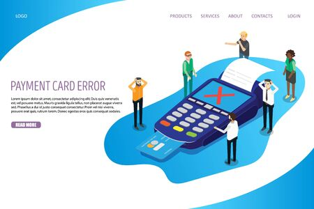 Payment card error vector website landing page design template