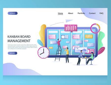Kanban board management vector website landing page design template  イラスト・ベクター素材