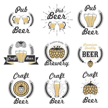 Set vettoriale di emblemi, distintivi ed etichette di birra artigianale