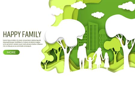 Happy family vector website landing page design template  イラスト・ベクター素材