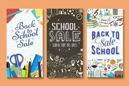 Powrót do szkoły sprzedaż transparent wektor zestaw szablonów. Artykuły papiernicze i inne przedmioty szkolne z napisem strony na arkuszu zeszytu i tablica tło. Rabaty, promocje specjalne.