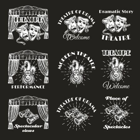 Vintage theatre label, emblem, badge and set, vector illustration
