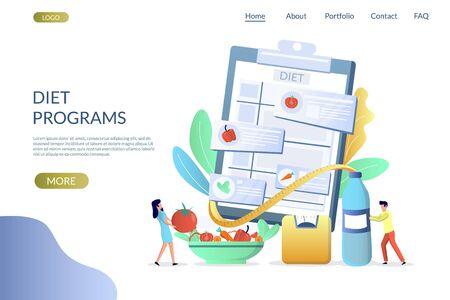 Diet programs vector website landing page design template Vektoros illusztráció