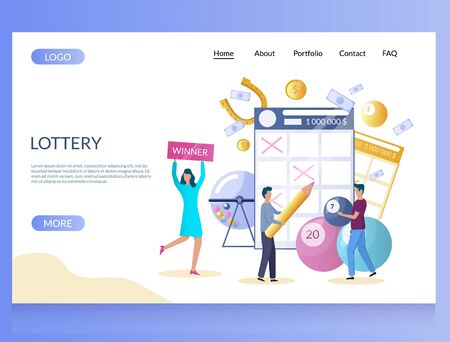 Lottery vector website landing page design template