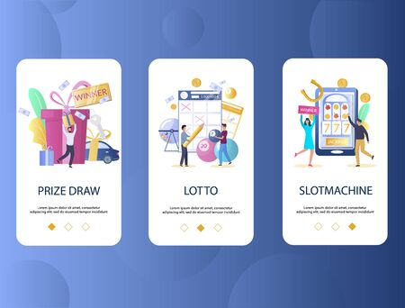 Prize draw, Lotto, Slot machine mobile app onboarding screens. Menu banner vector template for website and application development. Gambling industry concept