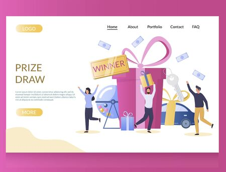 Prize draw vector website landing page design template