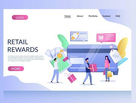 Retail rewards vector website landing page design template