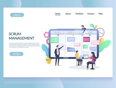 Scrum management vector website landing page design template