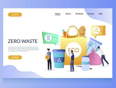 Zero waste vector website landing page design template