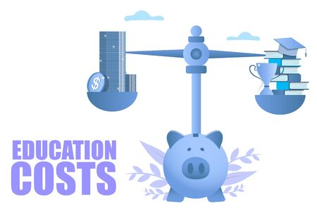 Education costs vector concept for web banner, website page