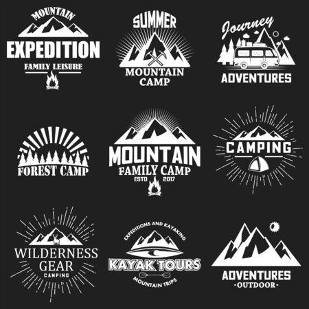 Vector set of vintage outdoor adventure labels, badges Vector Illustratie