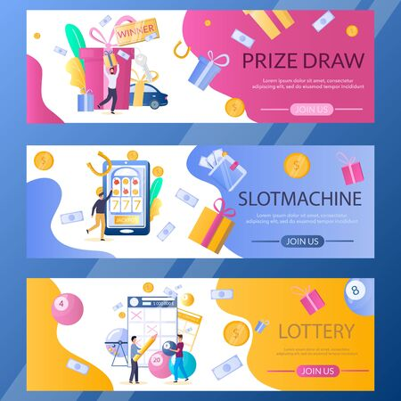 Lottery web banner template set, vector illustration 일러스트