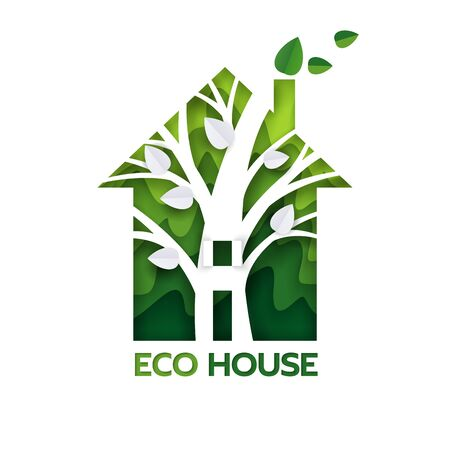 Eco green house, vector paper cut illustration