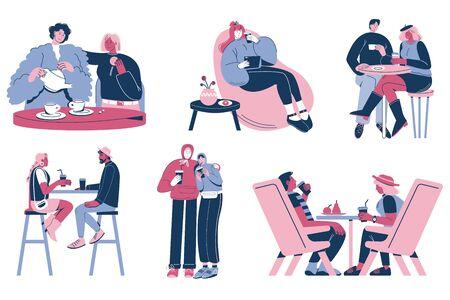 People taking coffee break, vector flat isolated illustration