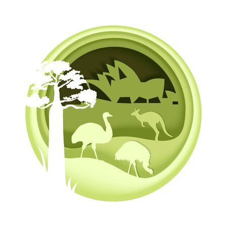 Australia, vector illustration in paper art style