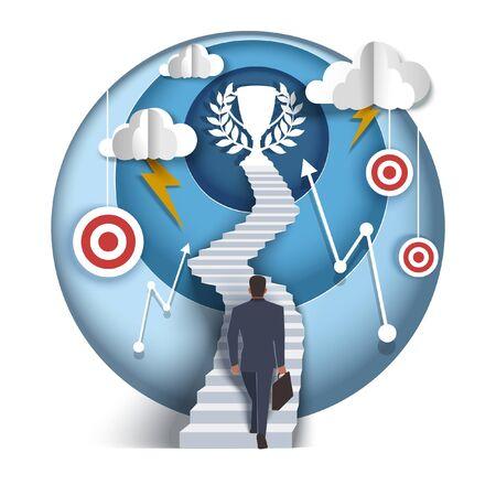 Business concept, vector paper cut illustration