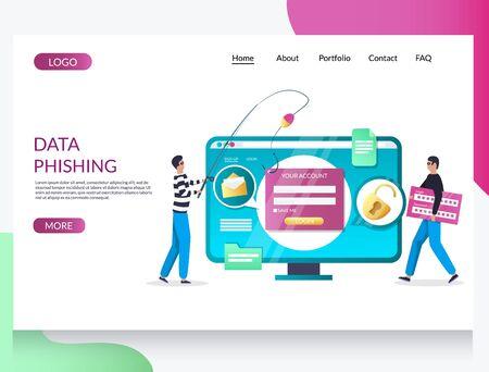 Data phishing vector website landing page design template