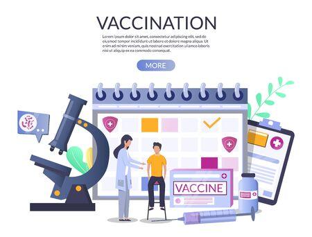 Modèle de conception de bannière web de vaccination, illustration vectorielle