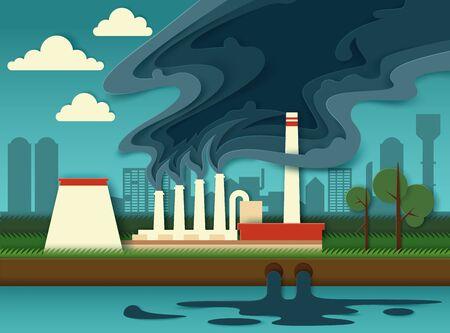 Environmental pollution concept vector paper cut illustration