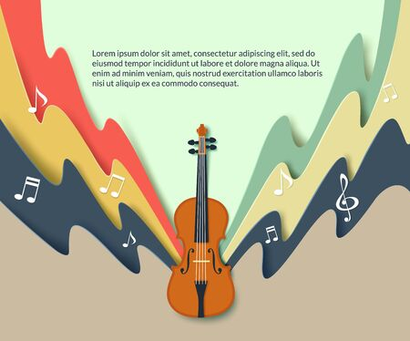 Violin classical music concert poster, vector paper cut illustration