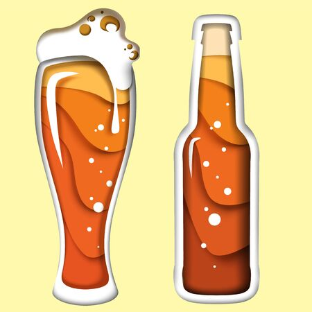 Beer vector illustration in paper art style Stock Illustratie