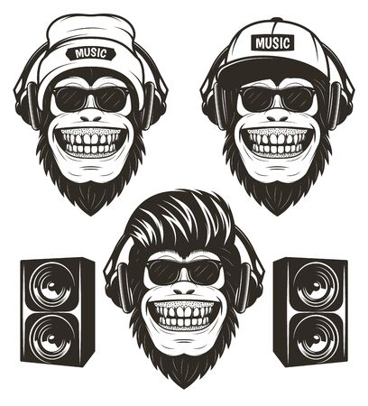 Cool hip hop music monkey set, vector hand drawn illustration Banque d'images - 130225546