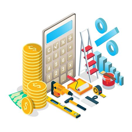 Home repairs budget concept vector isometric illustration