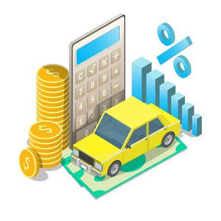 Auto loan rates vector concept isometric illustration