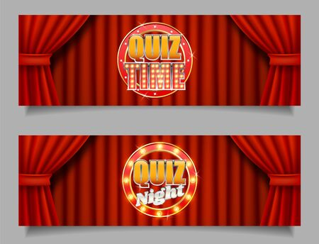 Quiz game vector horizontal banner template set