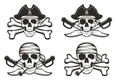 Pirate skull set vector hand drawn illustration