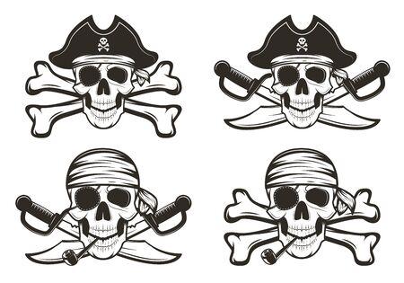 Piratenschädel gesetzte hand gezeichnete illustration des vektors