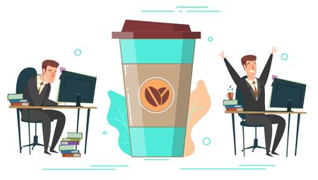 Huge coffee cup and tiny characters office people tired exhausted dreaming about coffee and active after drinking coffee, vector flat illustration. Coffee energy concept for web banner, website page.