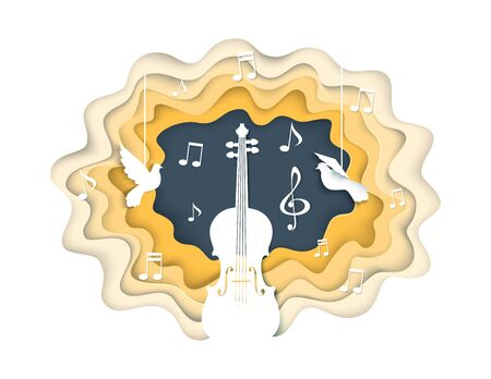 Music concept vector illustration in paper art style