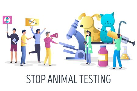 Stop animal testing campaign vector concept illustration