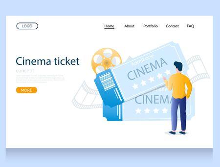 Cinema ticket vector website landing page design template Illustration