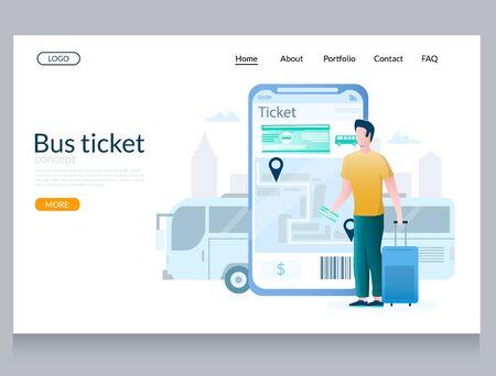 Bus ticket vector website landing page design template