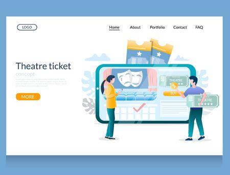 Theatre ticket vector website landing page design template