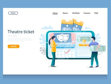 Theatre ticket vector website landing page design template