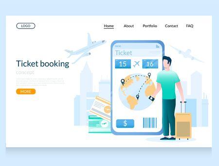 Ticket booking vector website landing page design template