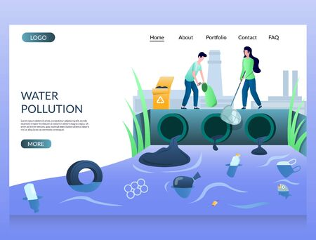 Water pollution vector website landing page design template