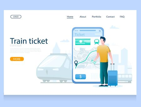Train ticket vector website landing page design template  イラスト・ベクター素材